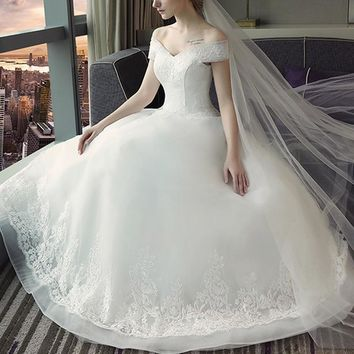 Angel Formal Dresses Women Corset Bodice Classic Tulle Ball Gown White Wedding Dresses