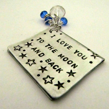 Hand Stamped Book Mark with Crystal Charms - Metal Bookmark - I Love You to the Moon and Back  - Stars
