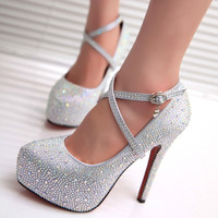 Women Fashion Round Toe Shoes High Heel Pumps