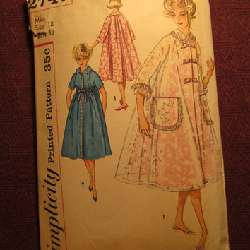 SALE Complete 1950's Simplicity Sewing Pattern, 2747! Size 18 Bust 38 Large/Women's/Misses/House Coat/Duster/Robe/Trapeze Style/Kimono Sleev