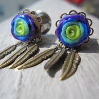 "Pair of Clay Rose Plugs w/ Feather Charms - Handmade Girly Gauges - 8g, 6g, 4g, 2g, 0g, 00g, 7/16"", 1/2"", 9/16"", 5/8"", 3/4"""