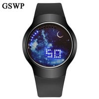 GSWP Creative Simple Starry Sky Touch Screen Waterproof LED Watch Men Women Couple watch  Electronic Casual Digital Watches