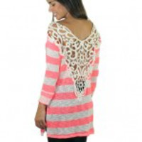 Neon Pink Striped Crochet Back Tunic
