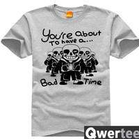 Undertale Sans Bad Time Cosplay Costume T-Shirt Sans Women Man Game Shirt