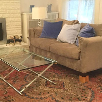 Mid Century Coffee Table / Milo Baughman / Mid Century Modern  / 1960's Vintage / Vintage Coffee Table / Chrome & Glass Table