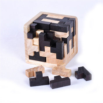 3D Russia Ming Luban Interlocking Wooden Puzzle IQ Brain Teaser Burr IQ Puzzles Toy for Adults Children Kids