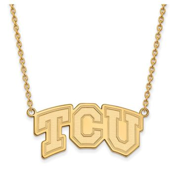 NCAA 10k Yellow Gold Texas Christian U Large TCU Pendant Necklace
