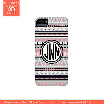 Customized iPhone 5c Case, Black Silver Tribal Pattern Full Wrap Mongoram Cases for iPhone 6 5 5S 5C 4 4S, iPod Touch 5g Tough or Slim Cover