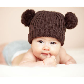 Winter Baby Hat Knitted Warm For Newborn Hat Kids Children Caps Set Sweater Knit For Toddlers Baby Boy Girls Baby Hat Hot Sale