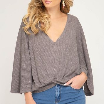Batwing Sleeve Rib Knit V Neck Top with Front Crossed Band - Grey
