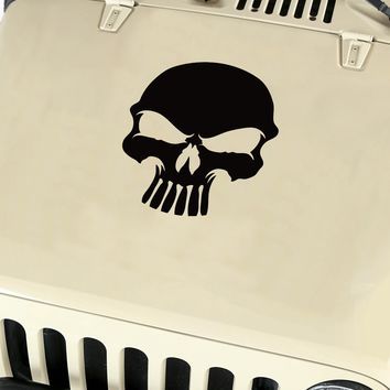 Skull Hood Body Vinyl Decal Sticker (12) fits: Jeep Wrangler JK TJ YJ