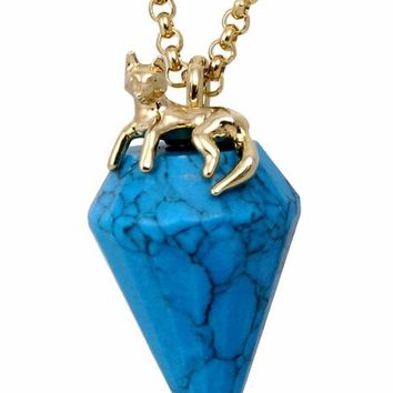 Wildfox Couture Jewelry Fox Charm Necklace with Turquoise Gem in Gold