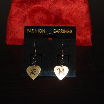 Personalized Heart Shaped Initial Earrings, Cute and Trendy, Awesome Gift for Friends