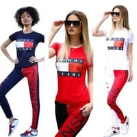 Women sportswear short sleeve outfits 2 piece set tracksuit jogging sportsuit hoodie legging outfits sweatshit tight sport suit klw0164