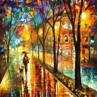 "Stroll With My Best Friend — PALETTE KNIFE Landscape Oil Painting On Canvas By Leonid Afremov - Size: 30"" x 36"""