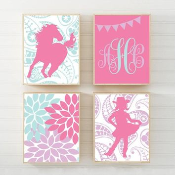 COWGIRL Wall Art, Horse CANVAS or Print Paisley Horse Decor, Pink Purple Girl Bedroom Wall Decor, Baby Girl Cowgirl Horse Nursery Set of 4