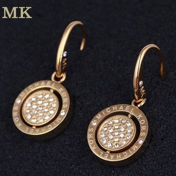 MK Michael Kors Fashion New Diamond Letter Round Women Personality Long Earring Golden
