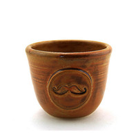 Mustache Cup:  Ceramic Wheel thrown Rum Cup in Brown by Miri Hardy Pottery