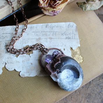 Goniatite Electroformed Copper Necklace with Amethyst & Clear Quartz