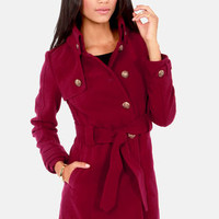 BB Dakota by Jack Camelot Wine Red Belted Pea Coat