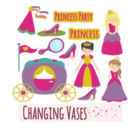 Digital Scrapbooking Kit Princess Party, Princess Clip Art Graphics, Fairy Tale, Fairytale Clipart, Hot Pink Purple Yellow, Fairy Clipart