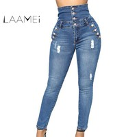 Laamei 2018 New Autumn Winter Woman Denim Pencil Pants Top Brand Stretch Jeans Classic High Waist Pants Women High Waist Jeans
