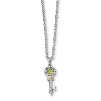 Sterling Silver & 14K Gold Peridot And Diamond Key Necklace
