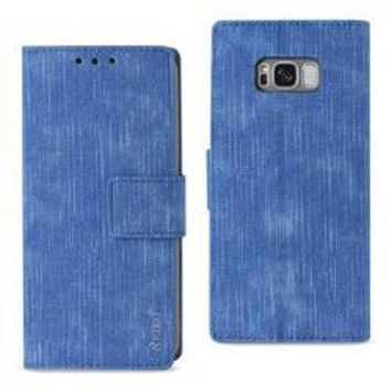 REIKO SAMSUNG GALAXY S8/ SM DENIM WALLET CASE WITH GUMMY INNER SHELL AND KICKSTAND FUNCTION IN NAVY