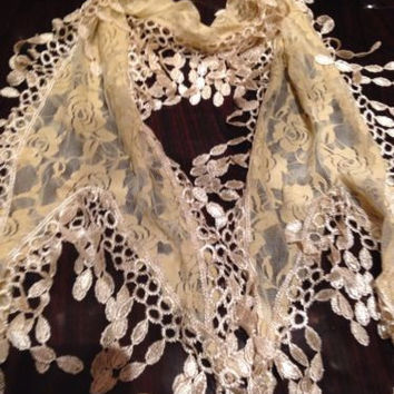 Nemesis Vintage Victorian Style Antique Cream Flower Lace Scarf Wrap