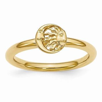 Gold Tone Plated Sterling Silver Stackable 7mm Sun/Moon Ring