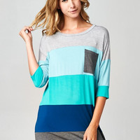 Color Block Tunic Top - Blue and Gray