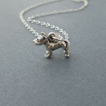 bitty pit bull terrier necklace sterling silver gift for her