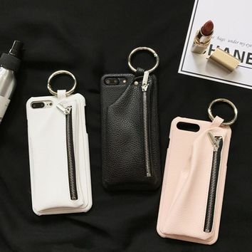 Phone Case with Leather wallet & Key Ring For iPhone 8/8 Plus
