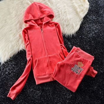 Juicy Couture Sequin Crown Logo Velour Tracksuit 6008 2pcs Women Suits Orange Red