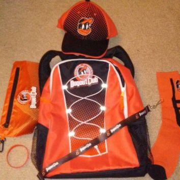 NEW Baltimore Orioles Junior Dugout Club Backpack, socks, hat, pencil case.