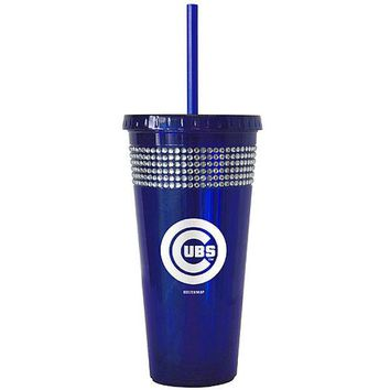 Chicago Cubs 22oz Bling Tumbler With Straw - Royal