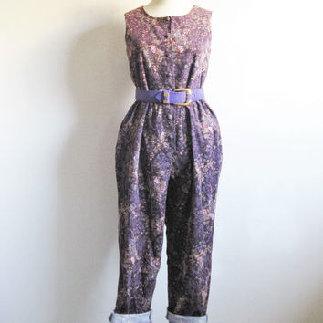 Vintage 1980s Laura Ashley Romper Earth Purple Brown Floral Garden Jumpsuit Small