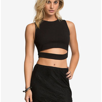 Cut Out Front Crop Top