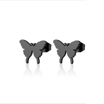 1Pair Well Defined Tiny Butterfly Earrings Stainless Steel Earring Simple Black Insect Ear Studs Jewelry For Women Kids Girls