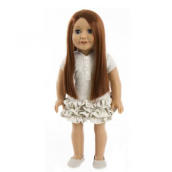 Treasured Dolls - Light Skin with Long Straight Auburn Hair and Delicate Blue Eyes