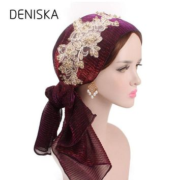 New Women Pre-Tied Cotton Bandana Turban 3D flower lace Head Scarf Chemo Hair Cover Hat Headwraps Cancer Hats hair accessories