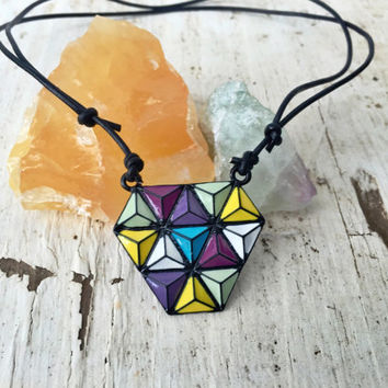Geometric Colorful Triangle Prism Heady Pyramid Pendant Black Leather Adjustable Choker Necklace