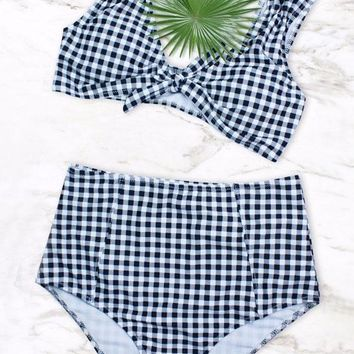 Vintage Gingham Printed High Waisted Knotted Bikini Swimsuit - Two Piece Set