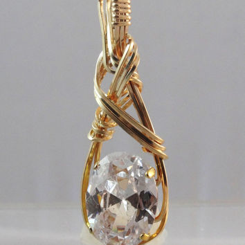Trillion Zirconia Wire Wrapped In Gold