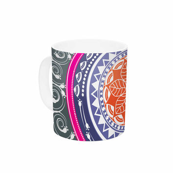 "Famenxt ""Boho Folk Colors Mandala"" Olive Multicolor Digital Ceramic Coffee Mug"