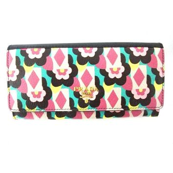 Prada Womens Snap Close Wallet with Flowers, Madras St. Peony Pattern Black Detachable ID 1MH132
