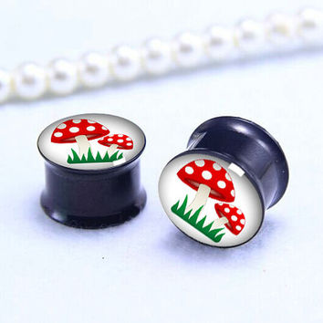 Mushroom Cartoon ear Plug  ,cute animal pricing body jewerly , Screw on Gauge ear plugs , Black Titanium ear plugs ,