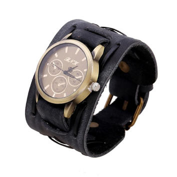 New Style Retro Punk Rock Brown Big Wide Leather Bracelet Cuff  Men Watch Cool Splendid summer style