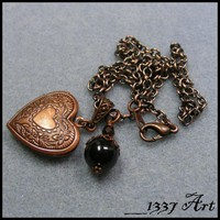 Heart Locket with Black Pearl in Antiqued Copper