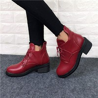 Fashion Women's Lace Up Combat Punk Ankle Martin Boots Female Shoes - 3 colors